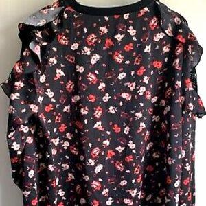 Lane Bryant Plus sz 26/28 flutter/lace sleeve top